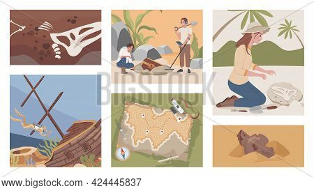 Archeological Excavation Vector Flat Illustrations. Excited Men And Women Digging, Using Metal Detec