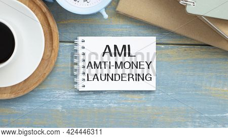 Paper With Anti-money Laundering Aml On Wooden Table, Calculator And Cup Coffee