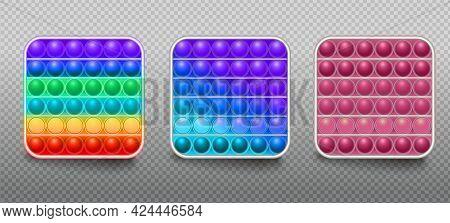 Set Of Colorful Fidget Antistress Sensory Toys For Kids. Fidget Sensory Pop It, Simple Dimple Trendy