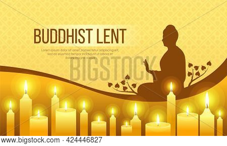 The Buddhist Lent Day - Silhouette Buddha Sit Sign And Yellow Candles Light To Pray On Yellow Textur