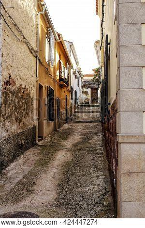 Narrow Streets And Old Facades In Alcaraz, Castilla La Mancha Community, Spain