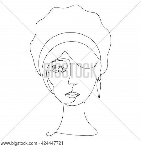 Woman's Face In One Line. Sketch. Vector Illustration. There Is A Rim On The Head. Earring In The Ea