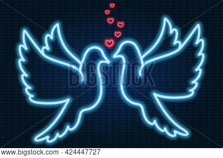 A Pair Of Doves In Love. Hearts As A Sign Of Love. Neon Glow. Birds Flap Their Wings. Colored Vector