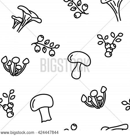 Seamless Vector Pattern With Various Mushrooms And Blueberries. For Fabric, Paper, Wrap, Textile, Po