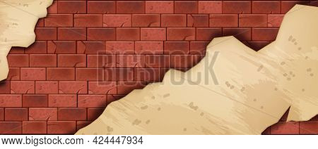 Red Brick Wall Vector Background, Stone Block Texture, Brown Rock Tile Architecture Illustration. Ol