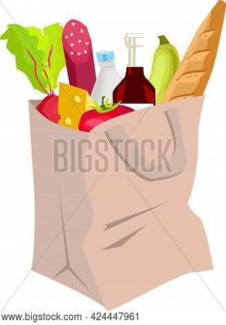 Grocery Shopping, Paper Bag, Grocery Bag. Natural Food, Organic Fruits And Vegetables. Products From
