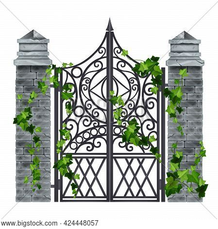 Iron Wrought Vector Gate, Old Vintage Metal Grate, Gray Brick Stone Pillars, Green Ivy Leaf, Climber