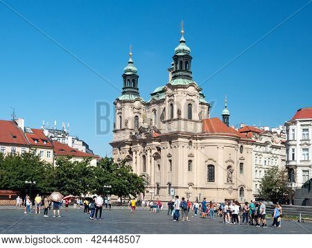 Prague, Czech Republic - July 23, 2019: Old Town Square (stare Mesto) And Church Of St. Nicholas