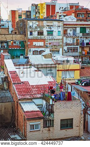 Residential Area In Barcelona City. Restrained Urban Conditions, Multitier Architecture In Old Livin