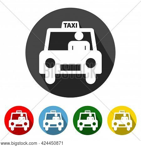 Taxi Icon Vector Illustration Design Element With Four Color Variations.taxi Icon With Long Shadow.