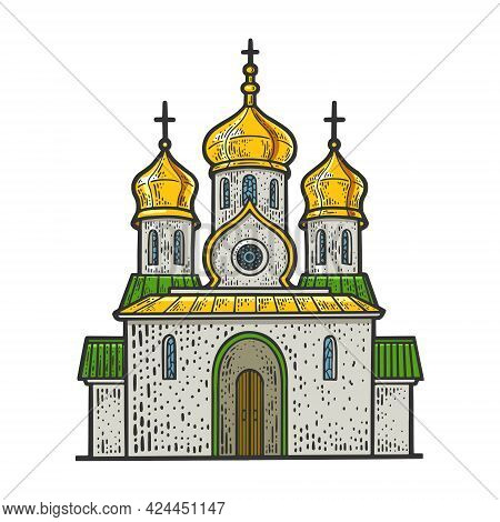 Russian Orthodox Christian Church Building Color Line Art Sketch Engraving Vector Illustration. T-sh