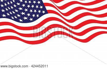 United State Of America Flag Wave On White Background Vector Illustration.
