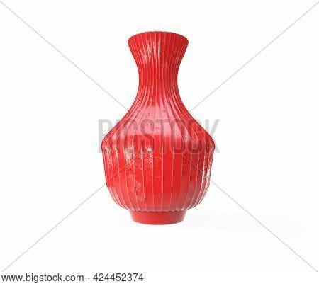 Porcelain White Decor Vases. 3d Rendering Studio Render On A Grey Background.