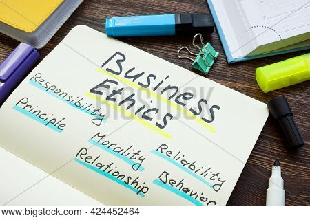 Business Ethics Principles List On The Page.