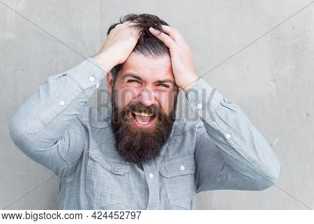 Feeling Depressed. Negative Emotions. Feel Bad. Bearded Man. Mature Hipster With Beard. Male Facial