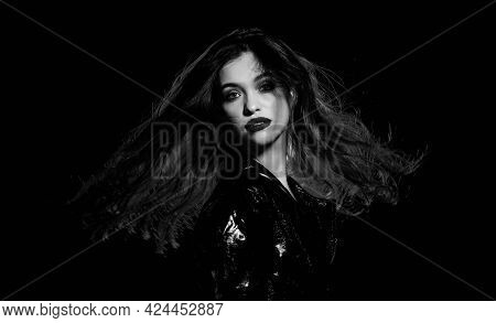 Making Your Hair Look Shiny. Sensual Woman With Long Brunette Hair. Haidressing And Styling. Beauty