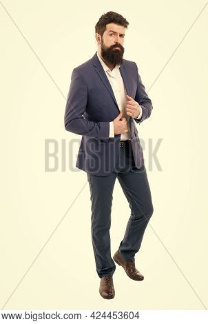 Facial Hair And Grooming. Man Handsome Bearded Businessman Wear Formal Suit. Menswear And Fashion Co