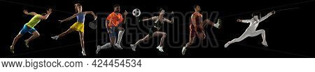 Sportsmen Playing Basketball, Tennis, Soccer Football, Fencing, Fitness On Black Background In Mixed