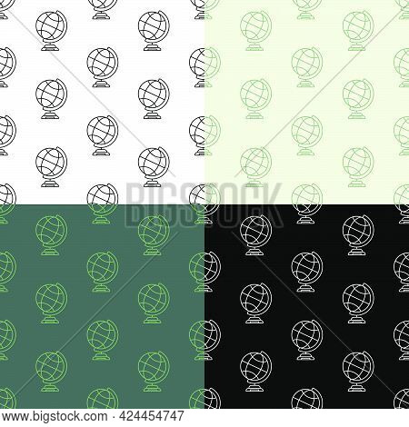 Set Of Seamless Patterns With School Globe On Stand. Studying Geography. Ornament For Decoration And