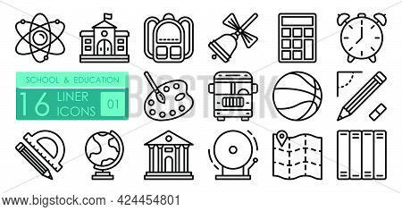 School Linear Icons Set. Structure Of Atom, Backpack, Calculator, Road To School By Bus. Physical Ed