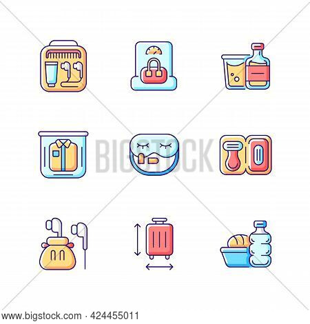 Essential Tourist Pack For Travel Rgb Color Icons Set. Packing Clothes And Compact Things. Isolated