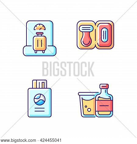 Tourist Baggage For Travel Rgb Color Icons Set. Luggage Check. Passport With Ticket. Isolated Vector