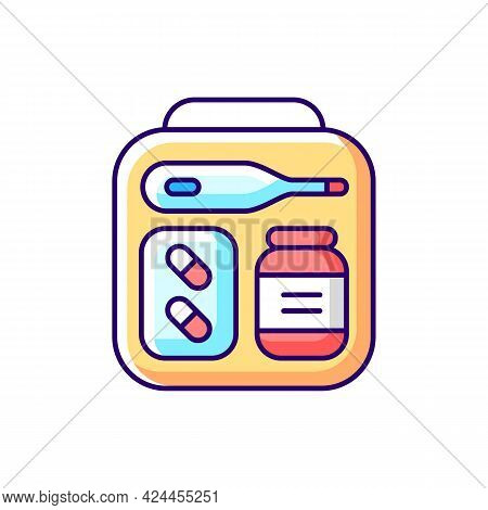 Mini First Aid Kit Rgb Color Icon. Emergency Bag With Medication For Trip. Essential Things For Tour