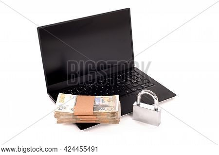 Internet Cyber Security Concept. Ransomware, Malware, Encrypt And Hacking