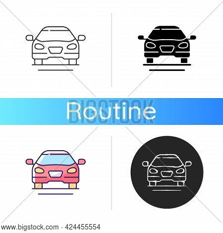 Sedan Car Icon. Fast Personal Transport. Hybrid Auto For Family Trips. Front Of Auto. Automobile For