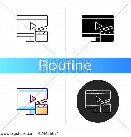 Watching Tv Icon. Television Show Broadcast. Movie On Screen. Home Appliance. Everyday Routine Enter