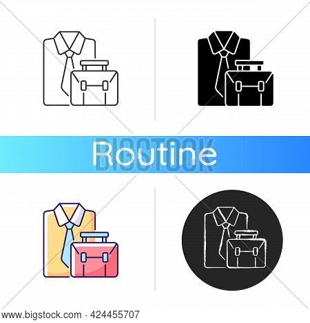Formal Clothing And Briefcase Icon. Professional Worker Outfit And Bag. White Collar Employee Clothe