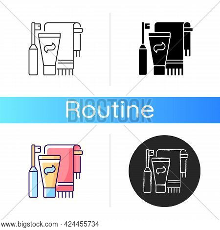 Brushing Teeth Icon. Toothpaste And Paste In Bathroom. Towel For Personal Cleanliness And Hygiene. E
