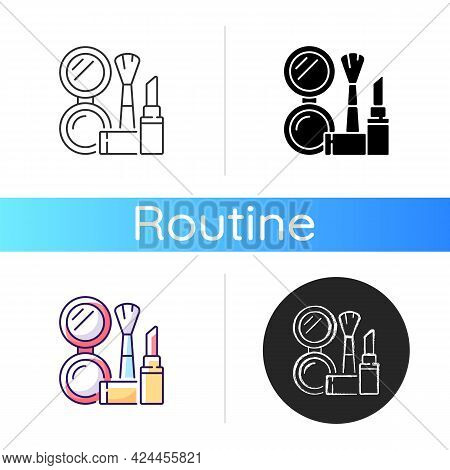 Makeup Icon. Cosmetic Products. Female Skincare. Lipstick And Powder Set. Brush For Women. Everyday