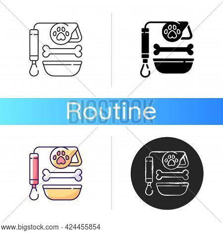 Pet Lead And Food Icon. Shop With Animal Products. Supplies For Cats And Dogs. Everyday Routine Shop