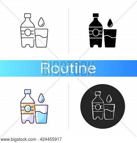 Water Icon. Hydration For Fitness. Mineral Aqua. Fluids To Avoid Thirst. Water Bottle To Prevent Deh