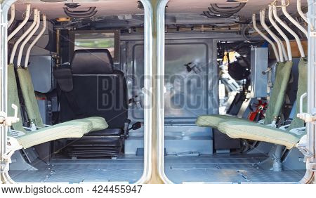 Minimalistic, Rigid Interior Of The Interior Of An Infantry Fighting Vehicle, Armored Personnel Carr