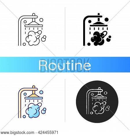 Shower Icon. Shower Faucet With Running Water. Rinse And Wash For Personal Hygiene. Streaming Waterd