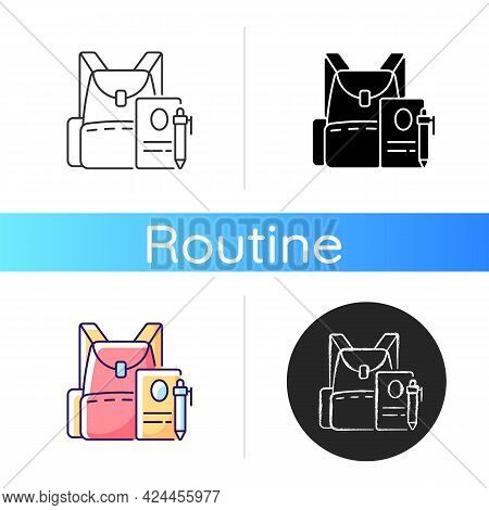Backpack Icon. Preparing For School Classes. Schoolbag With Notebook For Student. Rucksack With Coll