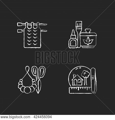 Creative Crafts Chalk White Icons Set On Dark Background. Knitting. Handmade Pom Pom Jewelry. Decoup