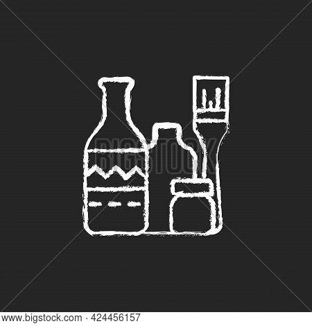 Bottle Painting Chalk White Icon On Dark Background. Home Decor. Repurposed Wine Bottles. Flower Hom