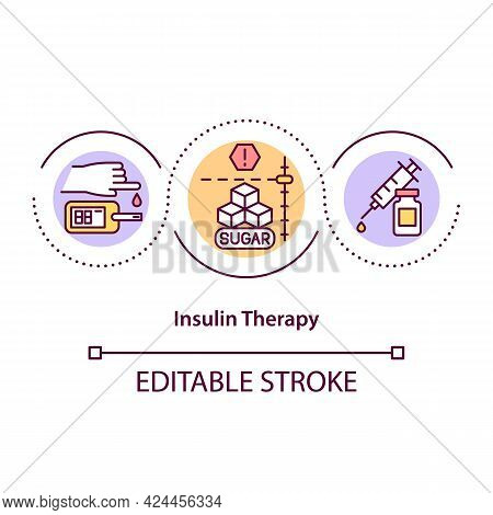 Insulin Therapy Concept Icon. Treatment Process For Diabetic People. Medicine For Curing. Treatment