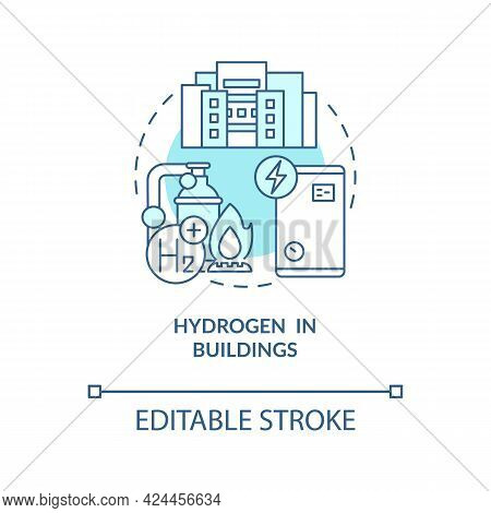 Hydrogen In Buildings Concept Icon. Use Renewable Energy Abstract Idea Thin Line Illustration. Hydro