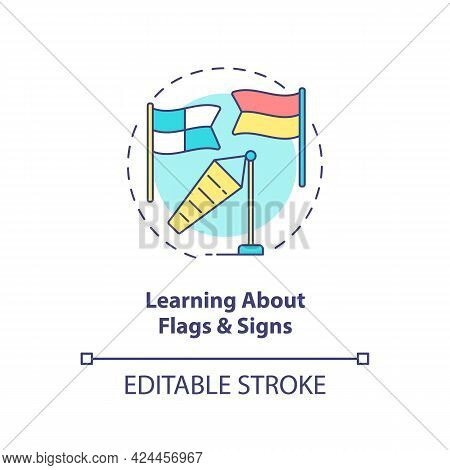 Learning About Flags And Signs Concept Icon. Beach Safety Abstract Idea Thin Line Illustration. Supe