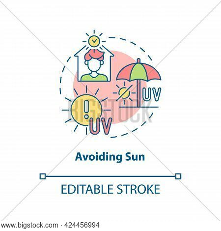 Avoiding Sun Concept Icon. Heat Exhaustion Risk Reducing Abstract Idea Thin Line Illustration. Stayi