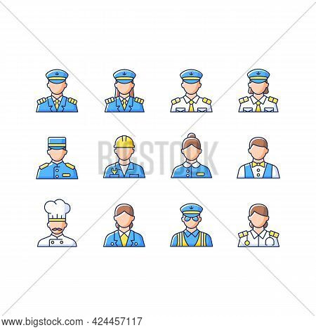 Cruise And Hotel Staff Rgb Color Icons Set. Isolated Vector Illustrations. Service Providers For Cus