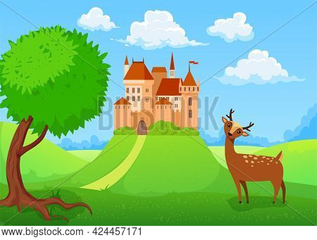 Cute Deer Character In Front Of Castle On Hill. Medieval Mansion, Summer Landscape, Animal With Antl