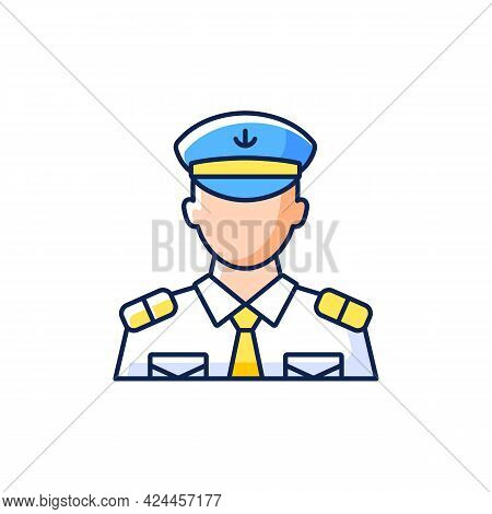 Male Chief Officer Rgb Color Icon. Isolated Vector Illustration. Helping Captain Organize Comfortabl