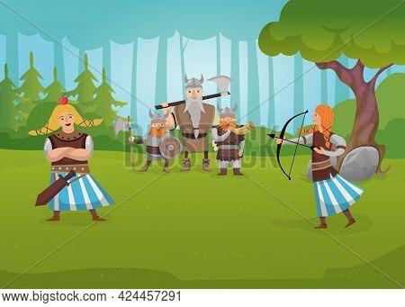 Family Of Vikings Training In Nature. Cartoon Vector Illustration. Armed Men Holding Shield, Horn, A