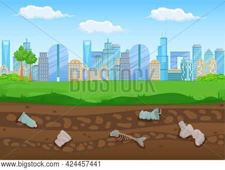 Buildings Of Big City With Waste Buried Underneath. Plastic Cups With Straw, Bottle, Fish Skeleton L