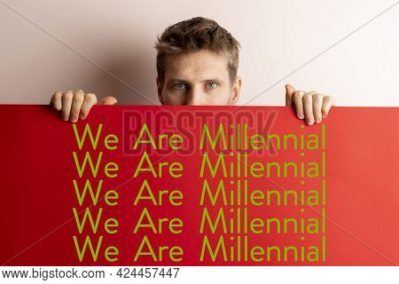 The We Are Millenial Text Words On The Colorful Cardboard Banner, New Generation Concept